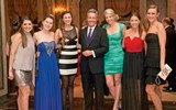 Travel Weekly's Bruce Shulman with, from left, VIP Vacations' Jessica Amato, Alison Dobrowolski, Megan Doncsecz, Jennifer Doncsecz, Lauren Leayman and Sarah Kuhn.