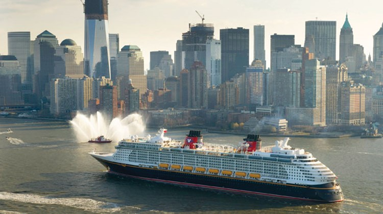 The Disney Fantasy in New York for its christening, which included a star-studded gala.