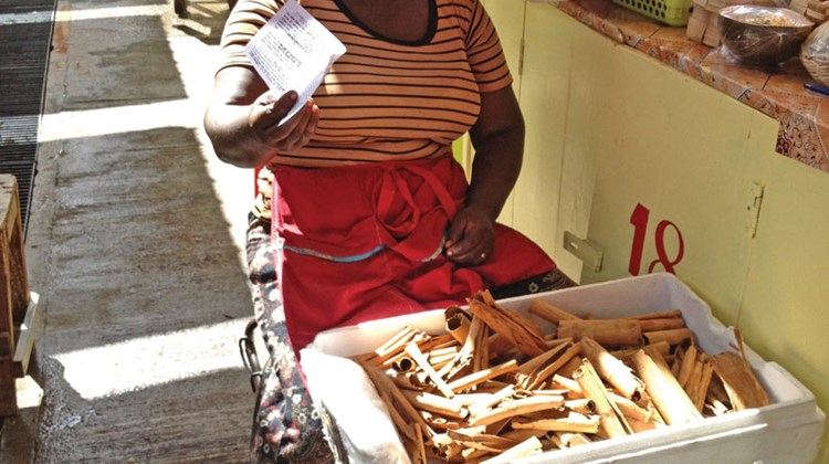 The ladies at the market stalls sell many varieties of spices, including nutmeg, which is the leading crop on Grenada.