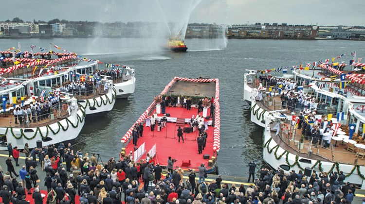 Viking River Cruises simultaneously christened 10 ships -- the Aegir, Atla, Bragi, Embla, Forseti, Jarl, Rinda, Skadi, Tor and Var -- in dual ceremonies in the port of Amsterdam (above) and the shipyards of Rostock, Germany, in February.