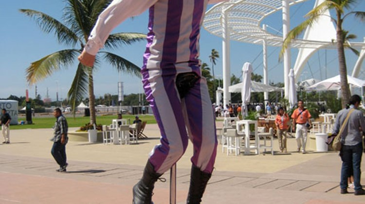 A unicyclist entertained crowds outside the convention center in Puerto Vallarta during Tianguis.
