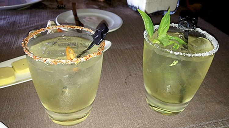 Not your run-of-the-mill margaritas! These are rimmed with salt and a pinch of habanero ground pepper.