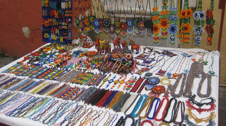 A vendor's jewelry stall in Tlaquepaque.