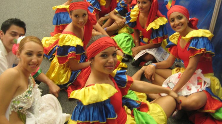 Dancers from the state of Sinaloa take a break during Tianguis at the convention center in Puerto Vallarta.