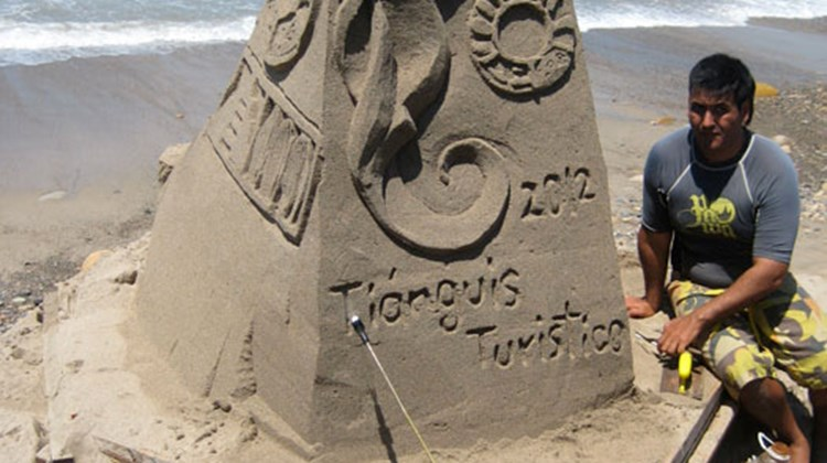 A sand sculpture on view for Tianguis Turistico delegates along the Malecon in Puerto Vallarta.