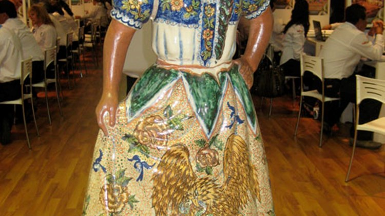 A hand-painted porcelain statue from Oaxaca.