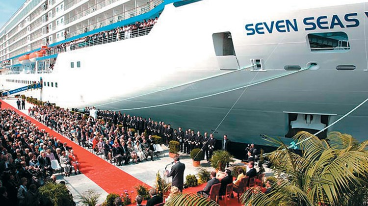 Prince Albert of Monaco attended the ceremony for Regent's Seven Seas Voyager.