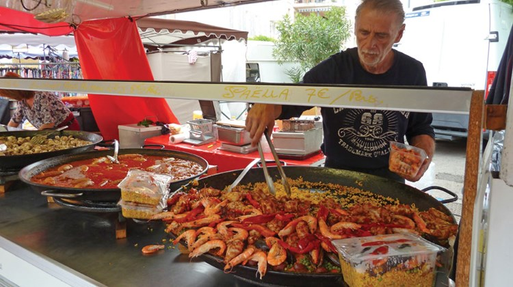 This paella is made mostly with shrimp.
