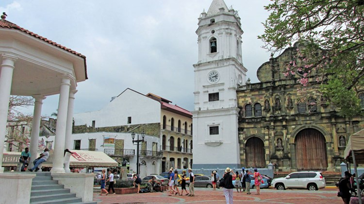 Plaza Mayor and the Metropolitan Cathedral in the Casco Antiguo area of Panama City. Casco Antiguo was named a Unesco World Heritage site in 1997.