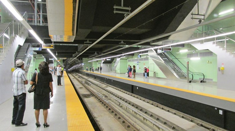 The Iglesia del Carmen metro station in Panama City's commercial district. The subway system, currently one line and 12 stops, opened last month.