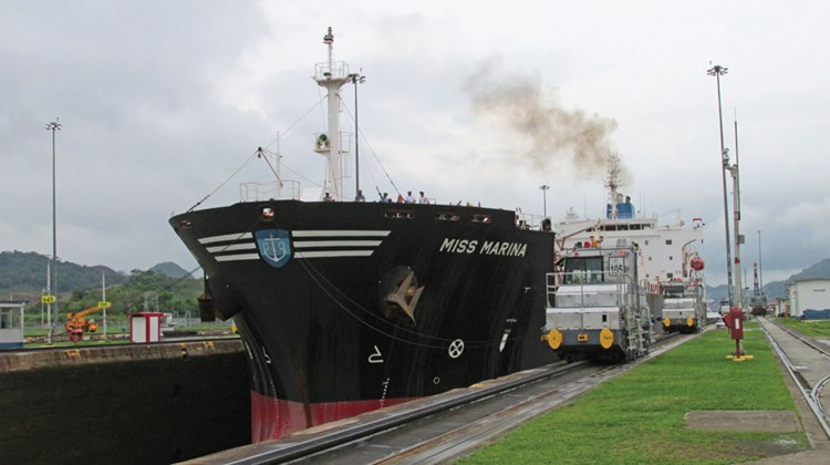 The Miss Marina oil tanker transiting the Miraflores locks of the Panama Canal, which celebrates its 100th anniversary this year.