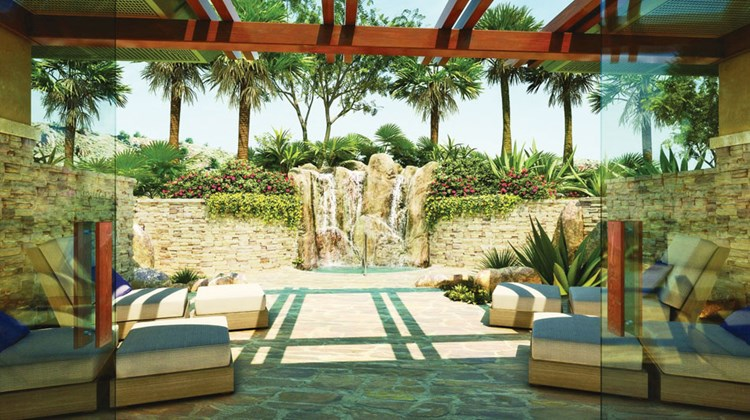 The Ritz-Carlton, Rancho Mirage includes a two-story, 25,000-square-foot spa complex with 15 treatment rooms and an outdoor whirlpool tub under a stone fountain.