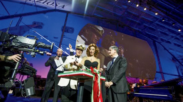 Sophia Loren with MSC Cruises owner Gianluigi Aponte and Captain Giuliano Bossi at the Preziosa's christening.
