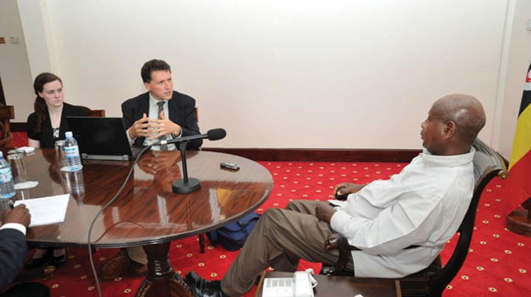 Travel Weekly Editor in Chief Arnie Weissmann asks Uganda President Yoweri Museveni about proposed anti-gay legislation in the State House, his official residence in Entebbe.