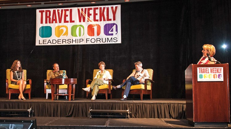 Jennifer Wayland of Island Travel Group, Alan Hale of Fairways Golf Vacations and GolfThere.com, Kate Rosevear of Travel Leaders and Marc Kazlauskas of Frosch discussed how they qualify and sell Hawaii to their clients. At right is moderator Karen Hughes, vice president of the Hawaii Visitors and Convention Bureau.