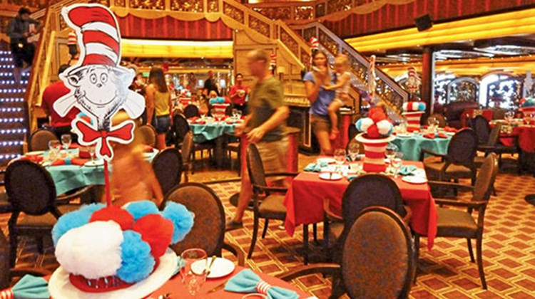 The breakfast, which costs $5 plus gratuities, is held in Carnival Freedom's Chic Restaurant on the last sea day of the cruise. Guests who don't like eggs of any color can order a stack of pancakes shaped like the cat's floppy tall hat, among other items.