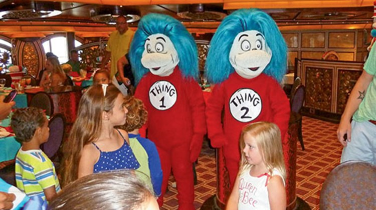 Thing 1 and Thing 2 are the first characters to make an appearance at the breakfast.