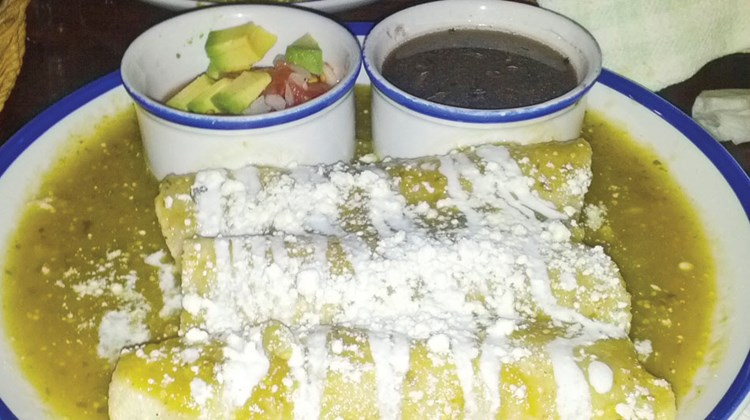 Enchiladas at La Cueva del Chango in Playa del Carmen.
