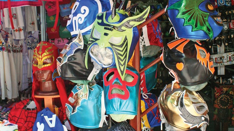 Mexican wrestling masks for sale in Playa del Carmen.