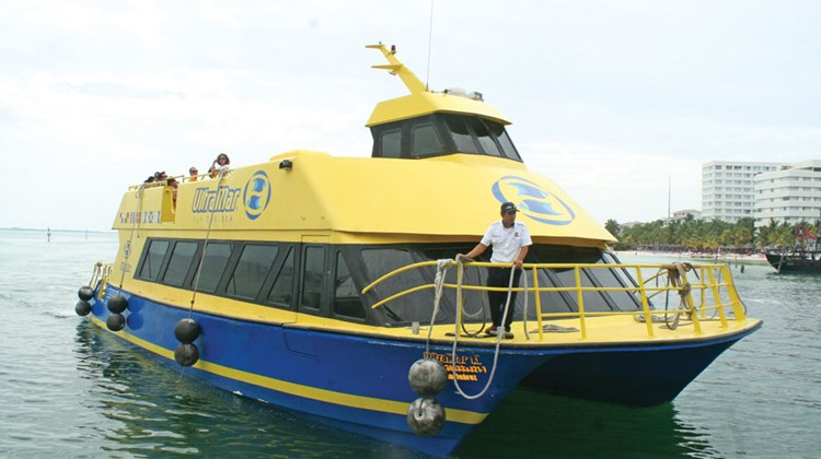 The high speed ferry to Isla Mujeres. The island is located about eight miles northeast of Cancun and visitors can catch a ferry from several points in town.