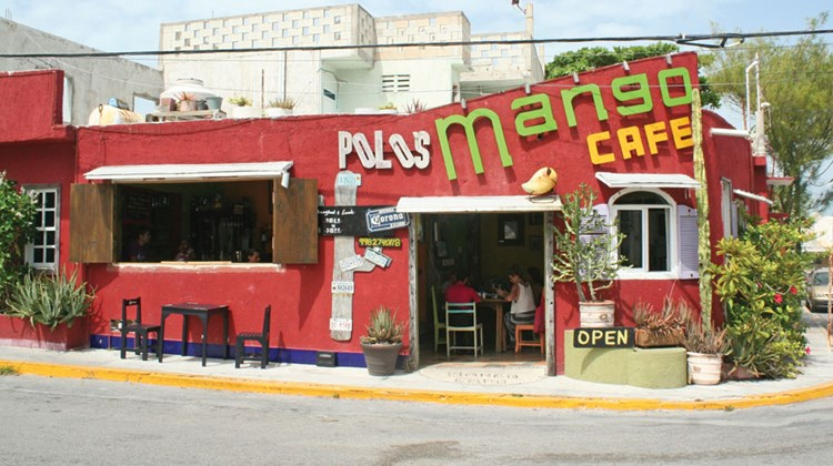 Polo's Mango Cafe on Isla Mujeres. Menu highlights include green apple guacamole and watermelon mimosas.