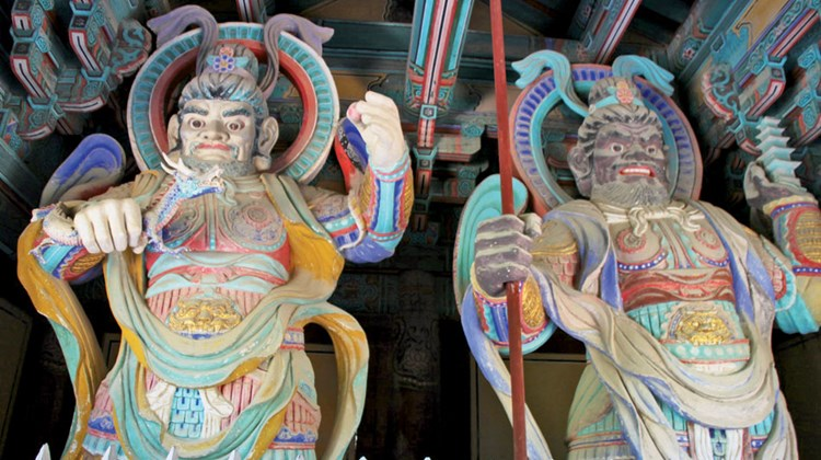 Guardians at Bulguksa Temple in Gyeongju, South Korea. Artist-created guardians are sometimes paintings, sometimes very colorful statues.