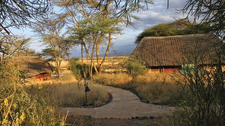 The grounds of Tortilis Camp, on the Kitirua Conservancy adjacent to Amboseli National Park in southern Kenya.
