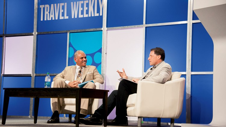 Carnival Corp. CEO Arnold Donald during his interview with Travel Weekly Editor in Chief Arnie Weissmann. Photo by Ed McDonald