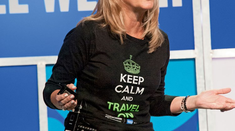 "Cruise Planners CEO Michelle Fee during her ""10 Commandments of Entrepreneurship"" presentation. Photo by Ed McDonald"