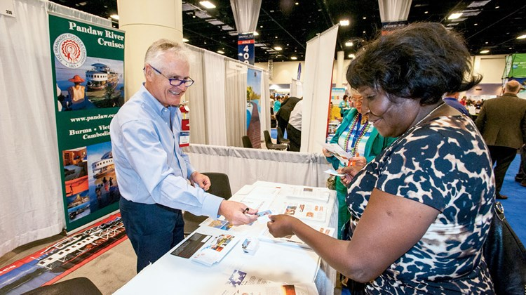 Travel Weekly's CruiseWorld kicked off Wednesday in Fort Lauderdale, offering agents educational opportunities, training sessions, executive panels and keynotes from cruise line CEOs. Pictured here, the trade show floor. Photo by Ed McDonald
