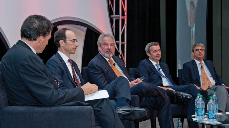 The Presidents Panel, from left, featured Travel Weekly Editor in Chief Arnie Weissmann, Royal Caribbean International CEO Adam Goldstein, Regent Seven Seas President Mark Conroy, Celebrity Cruises CEO Michael Bayley and MSC Cruises USA CEO Rick Sasso.