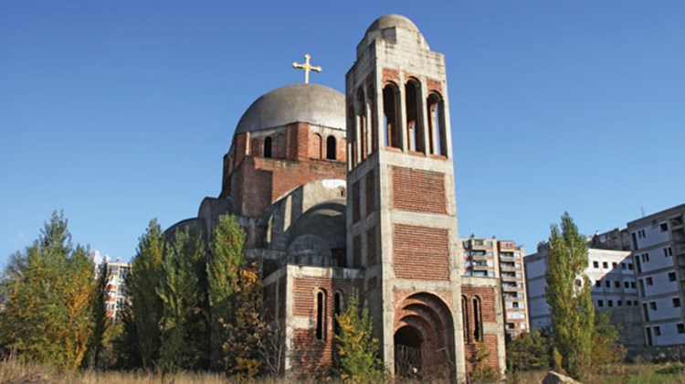 The Serbian government began construction of this Serbian Orthodox church near Pristina before Kosovo's independence, but its future is now uncertain.