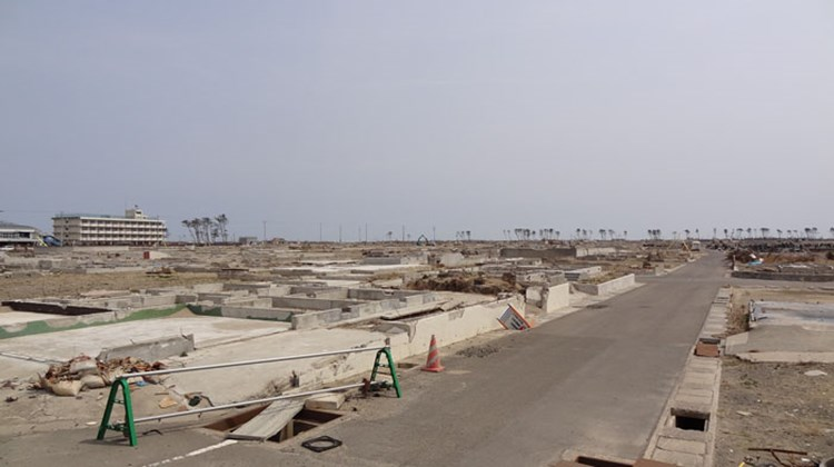 A coastal area near Sendai that was destroyed by the tsunami. Pictured, a street without houses. Photo by Johanna Jainchill