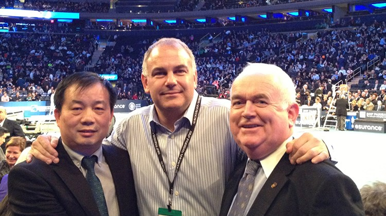 The Hangzhou Tourism Commission was a participating partner in the 2014 BNP Paribas Showdown on March 3 at New York's Madison Square Garden. From left, Yaping Xue, China National Tourist Office director; Paul Cohen, vice president, Optriant, a division of the Preferred Hospitality Group; and Joe Byrne, former head of Tourism Ireland, North America.