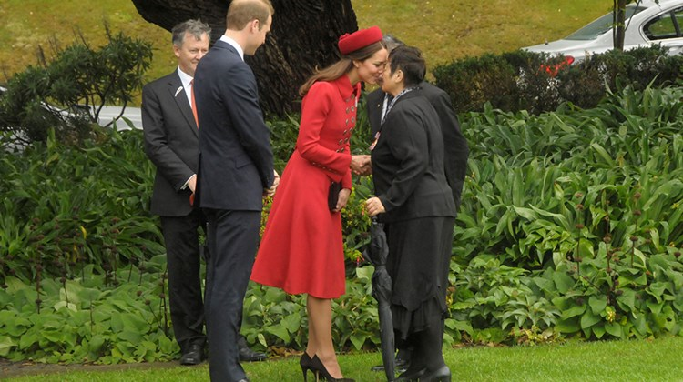 New Zealand welcomed the Duke and Duchess of Cambridge and Prince George on their first official tour as a family on April 7. Here, the Duchess of Cambridge receives a traditional Maori greeting from Maori elder Hiria Hape at the Government House.