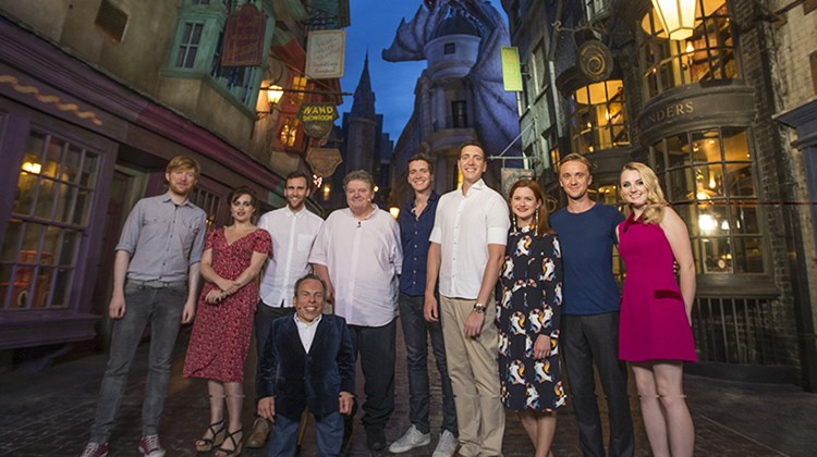 Harry Potter film stars, including Helena Bonham Carter, second front left; Matthew Lewis, third from left; Robbie Coltrane (fifth from left) and Tom Felton second from right, attended an exclusive preview of the Wizarding World of Harry Potter – Diagon Alley at Universal Orlando Resort. The new area, which opened officially on July 8, expands the Harry Potter attraction across both Universal Studios and Islands of Adventure parks.