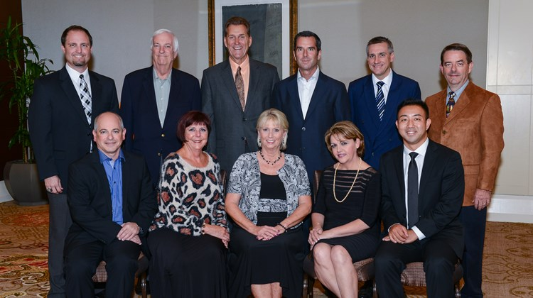 Signature Travel Network elected its board of directors for 2013-2014 at its Owners' Meeting in Washington. Front Row: Eric Maryanov, All Travel; Cathie Lentz Fryer, CTA Travel; Carol Lekki, Carol's Travel Service; Olga Placeres, Preferred Travel of Naples; Craig Hsu, Travel Design USA.Back Row: Ryan Hansen, Bon Voyage Travel; Michael Hannan, San Marin Travel; Tim Smith, Carefree Vacations; Steve Orens, Plaza Travel; Lee Smolinski, CTC Palm Coast Travel; Craig Baldridge, Creative Vacations & Cruise Centers.