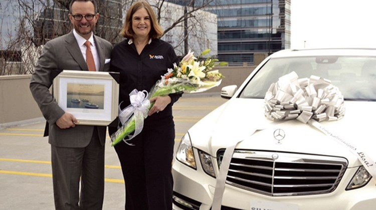 "Silversea Cruises selected Lisa Long of Avoya Travel as the winner of its Partner for Success sweepstakes for U.S. and Canadian travel agents. Long's prize: a Mercedes-Benz sedan. Kristian Anderson, Silversea's senior vice president of sales and general manager for North America, handed over the keys. ""I was thrilled to hear that I had won,"" Long said. ""My travel agency specializes in luxury cruises, and I love creating amazing vacation experiences on Silversea's ships and delivering first-class service to my customers."""