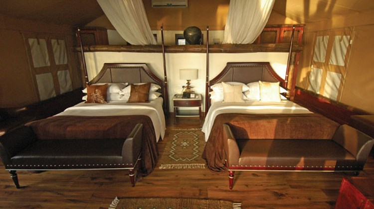 The interior of the luxury tented suites at Chobe.