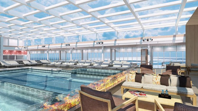 The all-balcony ship will have five cabin categories, ranging from a 270-square-foot model to a 1,448-square-foot suite. There will be two pools, one with a retractable dome, the other a glass-backed infinity pool at the ship's stern.