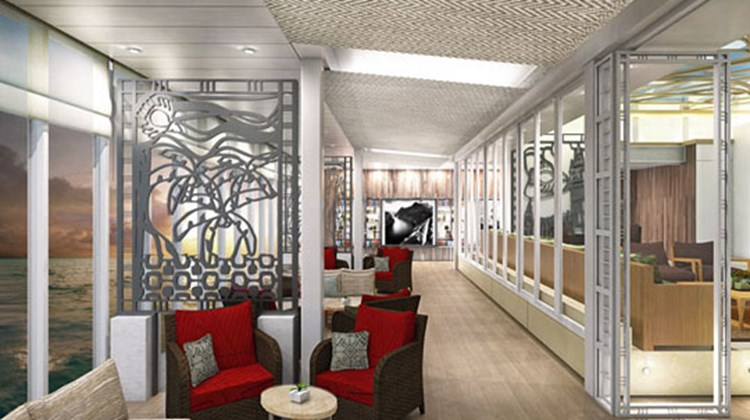 Similar to Viking's river ships, the interior design of the Viking Star will be understated and Scandinavian modern. Pictured here, a rendering of the Wintergarden Lanai.