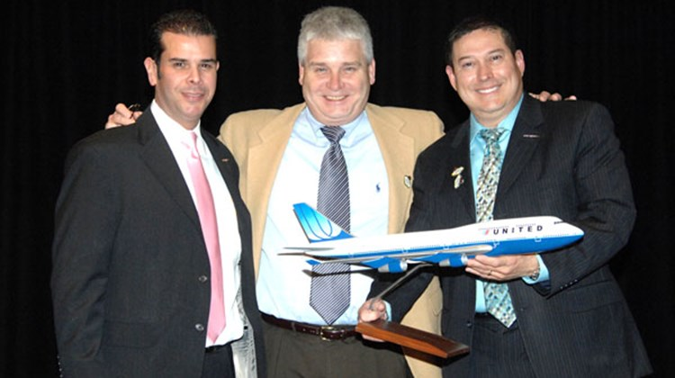 Pictured at the United Vacations 2010 Product Launch and Educational Retreat in Las Vegas are (L-R): Victor Fernandez, LVCVA; Bill Byrne, United Airlines; and Art Jimenez, LVCVA.