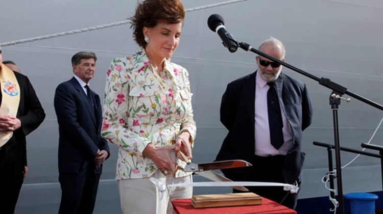 Silvia Lefebvre, sister of Silversea chairman Manfredi Lefebvre, christens the Silver Spirit in Fort Lauderdale.