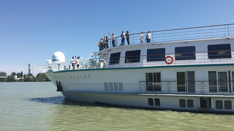 The Crystal Mozart, the first river cruise ship in the Crystal fleet, made its debut this month. Over the last seven months the former Peter Deilmann vessel was stripped down to the steel and rebuilt. Here it  arrives in Vienna for the first time.
