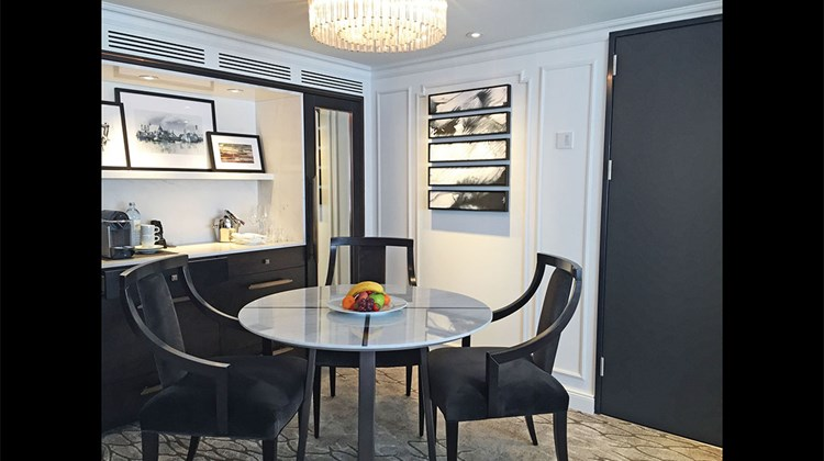 The dining area inside an 830-square-foot Crystal Suite.