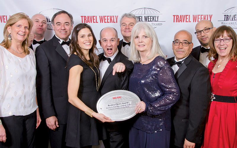 From left: Deirdre Copjec of Sabre; David Coombes of Flight Centre USA; Brian Buttigieg of Valerie Wilson Travel; Amy O'Hara; J.D. O'Hara of Tzell Travel Group; Bill Murray; Gerry Moore-Murray of Sabre; Louis Rodriguez of Valerie Wilson Travel; Chip Brooks; and Patricia Davis Brooks of Apple Vacations. Photo Credit: Lin Pernille Kristensen