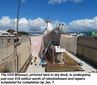 USS Missouri in drydock