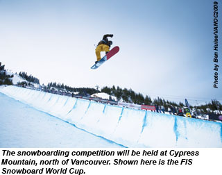 Snowboarding at Cypress Mountain