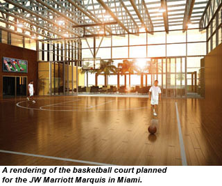 Rendering of the basketball court at the JW Marriott Marquis Miami