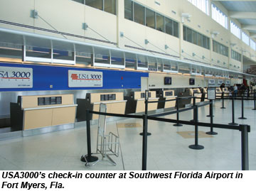 USA3000 check-in counter